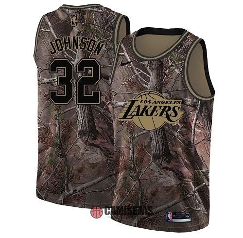 Camisetas NBA Los Angeles Lakers NO.32 Magic Johnson Camo Swingman Realtree Collection 2018 Barats