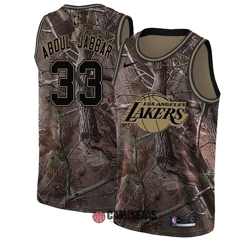 Camisetas NBA Los Angeles Lakers NO.33 Kareem Abdul Jabbar Camo Swingman Realtree Collection 2018 Barats