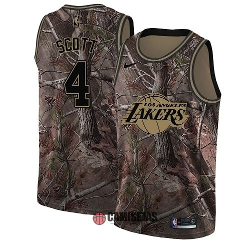 Camisetas NBA Los Angeles Lakers NO.4 Byron Scott Camo Swingman Realtree Collection 2018 Barats