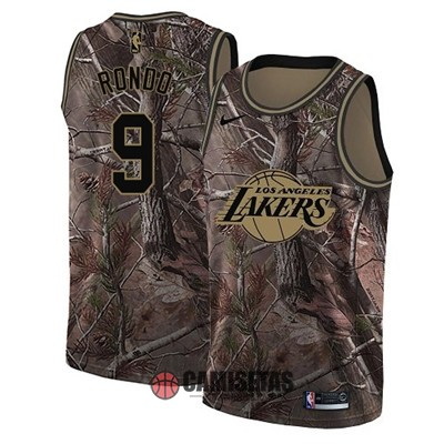 Camisetas NBA Los Angeles Lakers NO.9 Rajon Rondo Camo Swingman Realtree Collection 2018 Barats