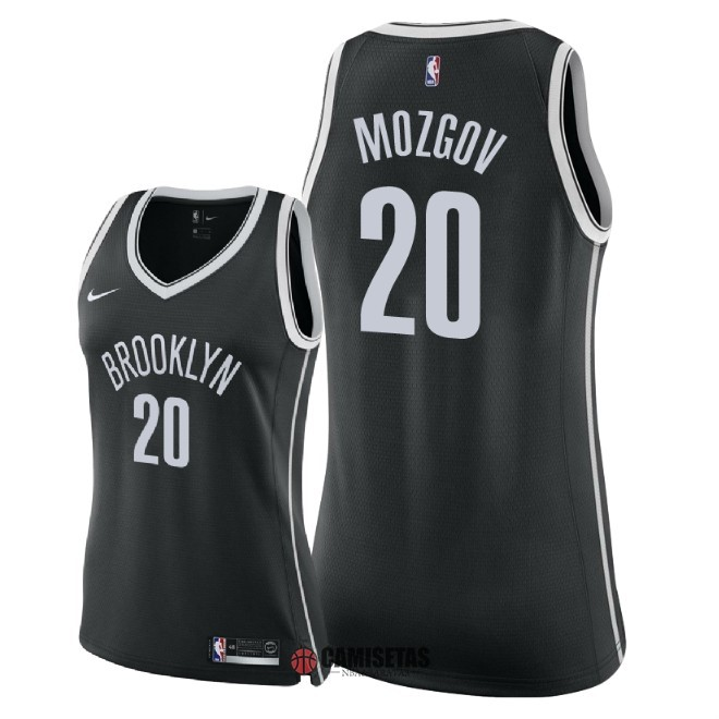 Camisetas NBA Mujer Brooklyn Nets NO.20 Timofey Mozgov Negro Icon 2018 Barats