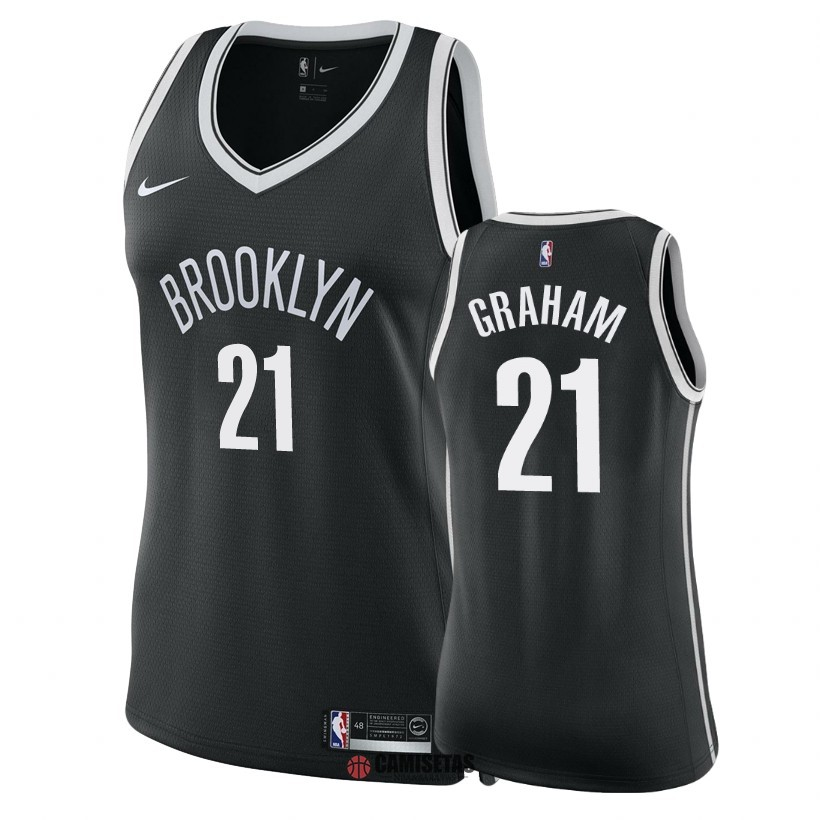 Camisetas NBA Mujer Brooklyn Nets NO.21 Treveon Graham Negro Icon 2018 Barats