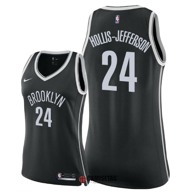 Camisetas NBA Mujer Brooklyn Nets NO.24 Rondae Hollis Jefferson Negro Icon 2018 Barats