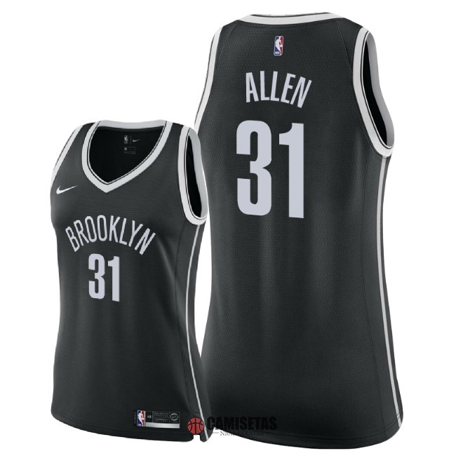 Camisetas NBA Mujer Brooklyn Nets NO.31 Jarrett Allen Negro Icon 2018 Barats