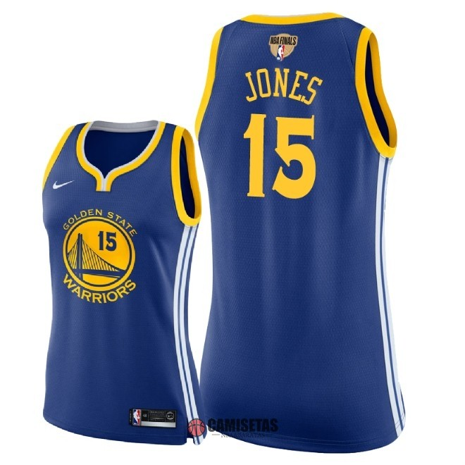 Camisetas NBA Mujer Golden State Warriors 2018 Campeones Finales NO.15 Damian Jones Azul Icon Parche Barats
