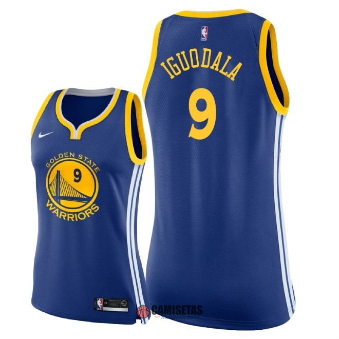 Camisetas NBA Mujer Golden State Warriors NO.9 Andre Iguodala Azul Icon 2018 Barats