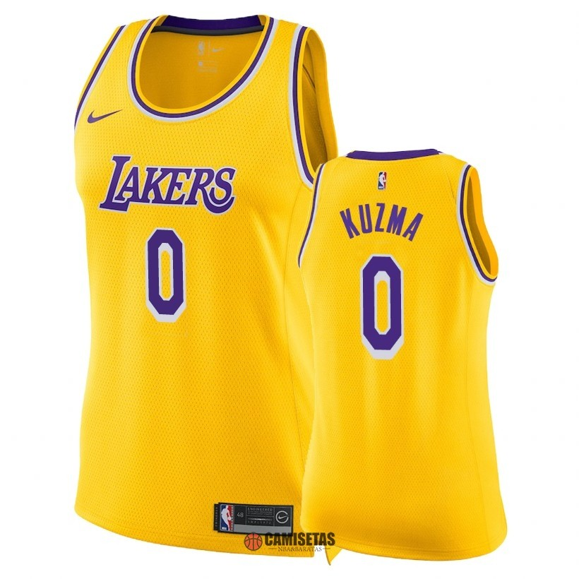 Camisetas NBA Mujer Los Angeles Lakers NO.0 Kyle Kuzma Amarillo Icon 2018-19 Barats