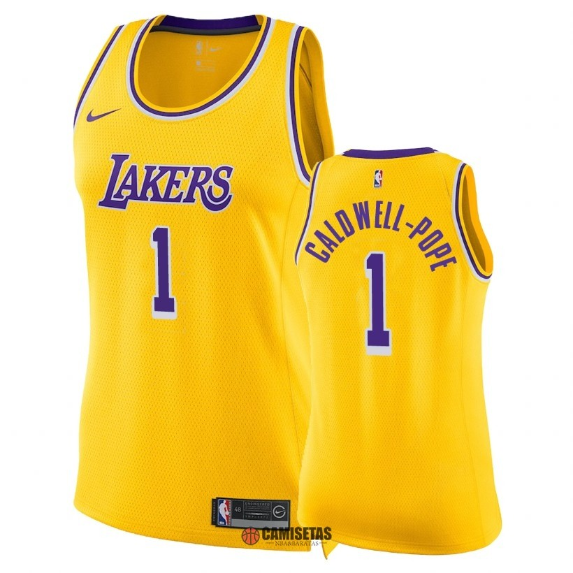 Camisetas NBA Mujer Los Angeles Lakers NO.1 Kentavious Caldwell Pope Amarillo Icon 2018-19 Barats