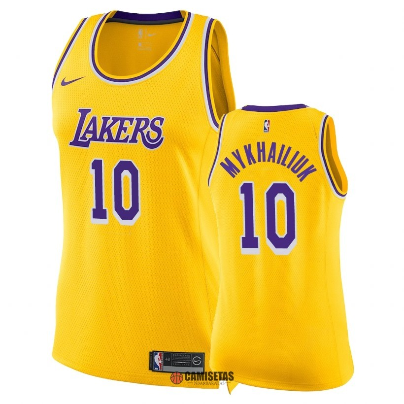 Camisetas NBA Mujer Los Angeles Lakers NO.10 Sviatoslav Mykhailiuk Amarillo Icon 2018-19 Barats