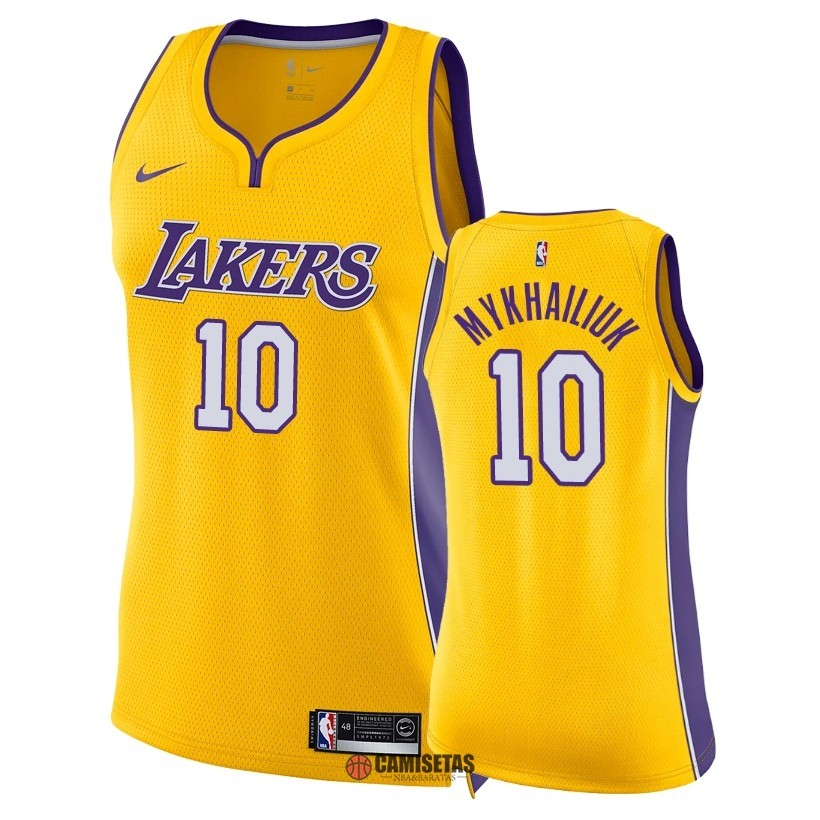 Camisetas NBA Mujer Los Angeles Lakers NO.10 Sviatoslav Mykhailiuk Amarillo Icon 2018 Barats