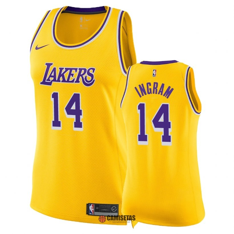 Camisetas NBA Mujer Los Angeles Lakers NO.14 Brandon Ingram Amarillo Icon 2018-19 Barats