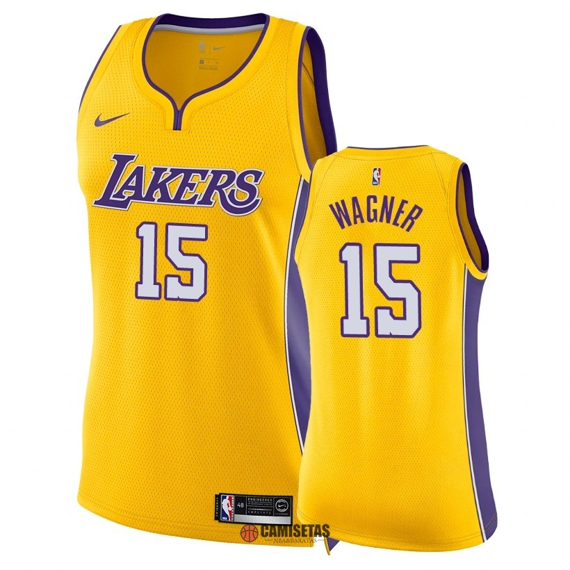 Camisetas NBA Mujer Los Angeles Lakers NO.15 Moritz Wagner Amarillo Icon 2018 Barats