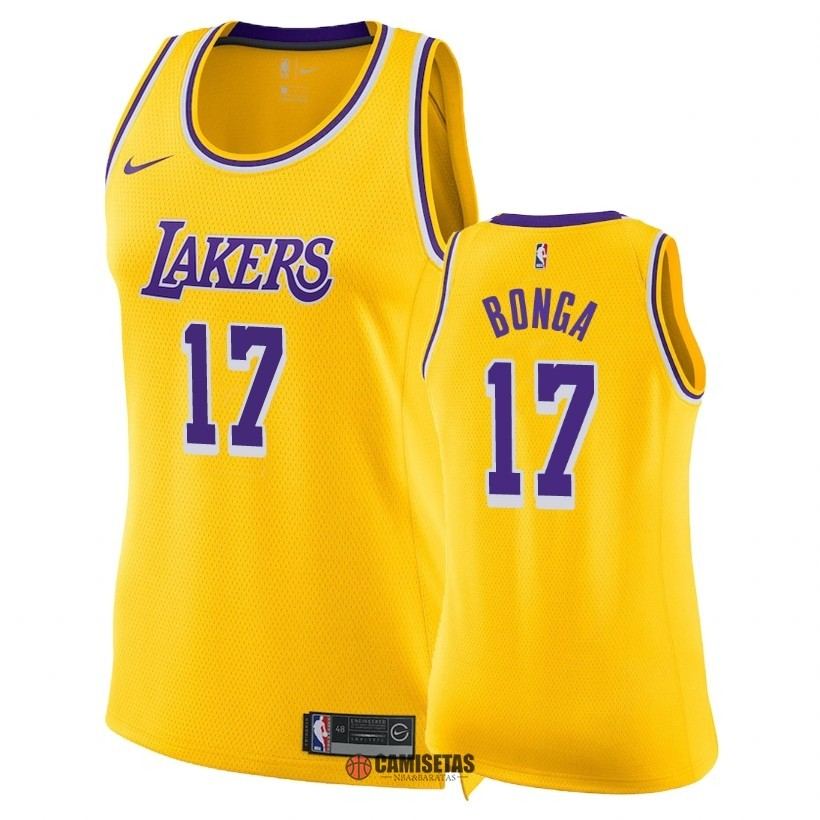 Camisetas NBA Mujer Los Angeles Lakers NO.17 Isaac Bonga Amarillo Icon 2018-19 Barats
