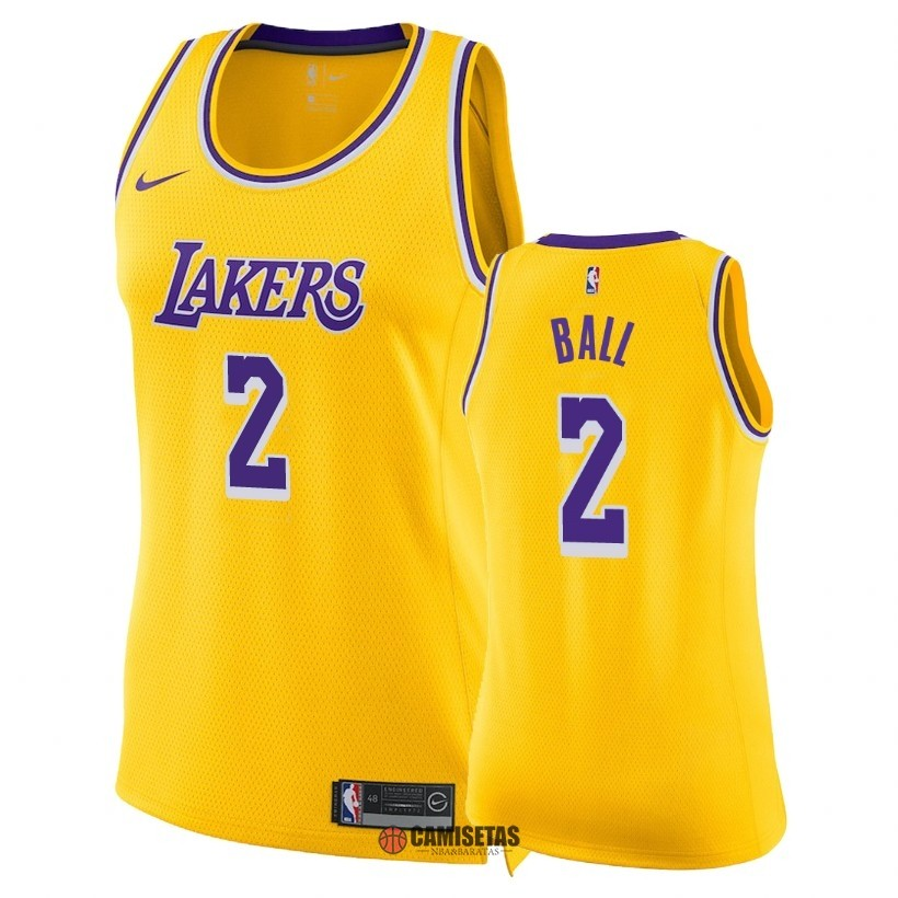 Camisetas NBA Mujer Los Angeles Lakers NO.2 Lonzo Ball Amarillo Icon 2018-19 Barats