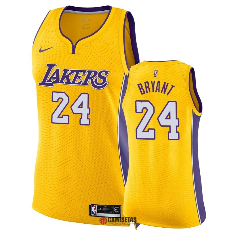 Camisetas NBA Mujer Los Angeles Lakers NO.24 Kobe Bryant Amarillo Icon 2018 Barats