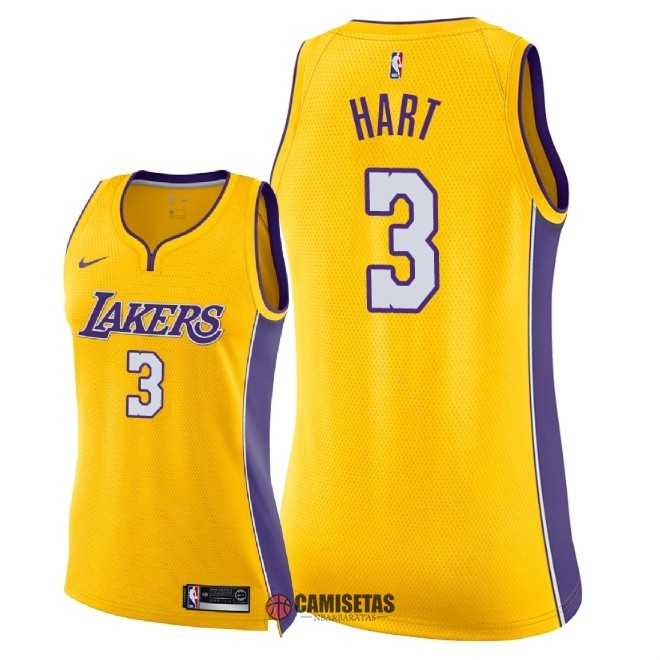 Camisetas NBA Mujer Los Angeles Lakers NO.3 Josh Hart Amarillo Icon 2018 Barats