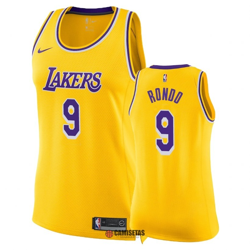 Camisetas NBA Mujer Los Angeles Lakers NO.9 Rajon Rondo Amarillo Icon 2018-19 Barats