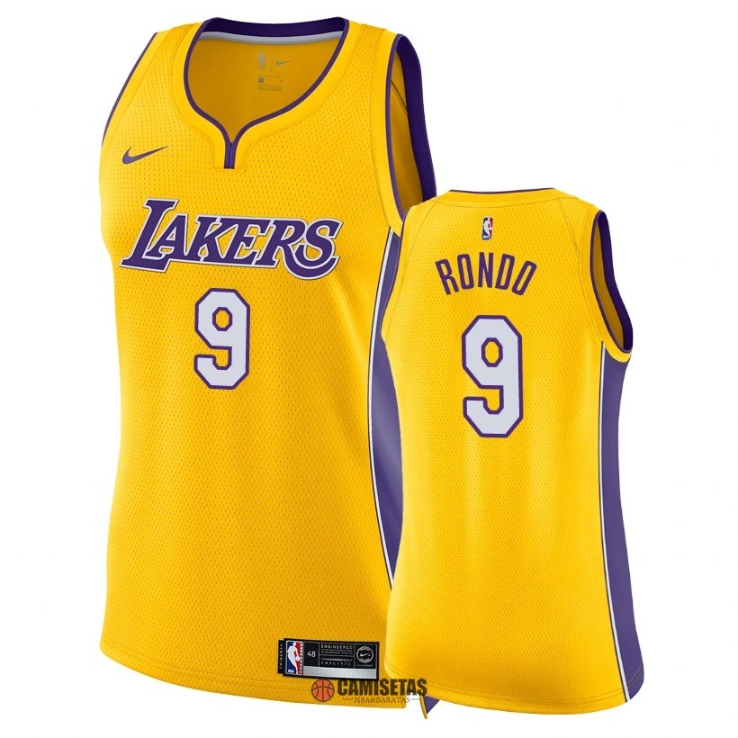 Camisetas NBA Mujer Los Angeles Lakers NO.9 Rajon Rondo Amarillo Icon 2018 Barats