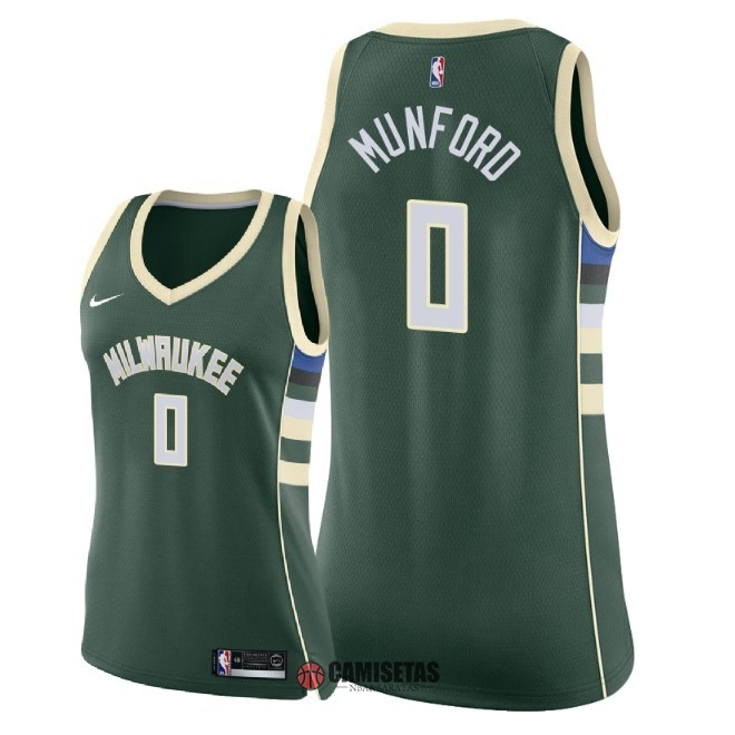 Camisetas NBA Mujer Milwaukee Bucks NO.0 Xavier Munford Verde Icon 2018 Barats