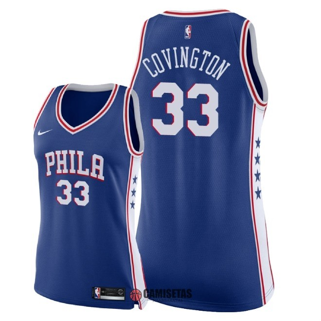 Camisetas NBA Mujer Philadelphia Sixers NO.33 Robert Covington Azul Icon 2018 Barats