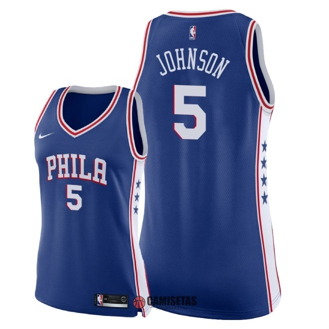 Camisetas NBA Mujer Philadelphia Sixers NO.5 Amir Johnson Azul Icon 2018 Barats