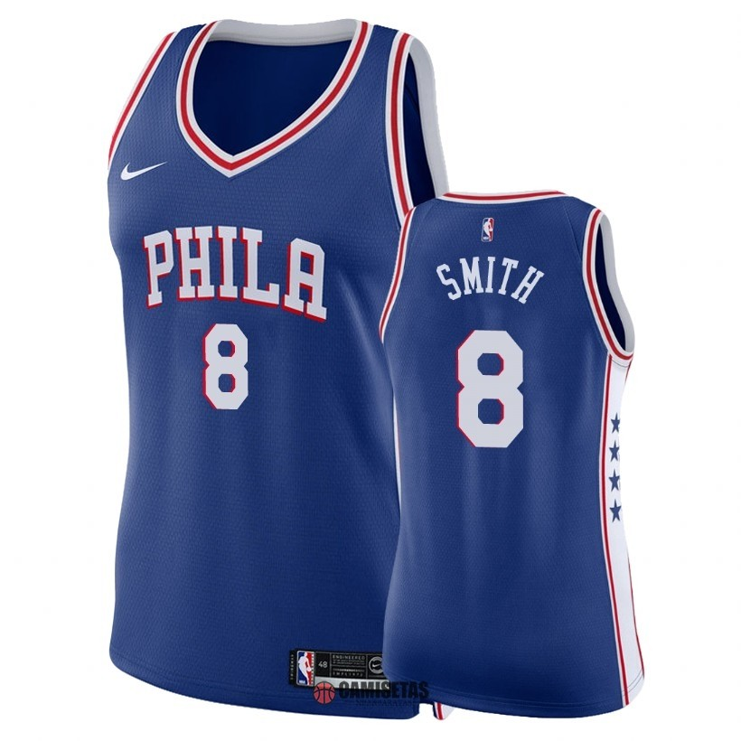 Camisetas NBA Mujer Philadelphia Sixers NO.8 Zhaire Smith Azul Icon 2018 Barats