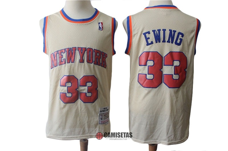 Camisetas NBA New York Knicks NO.33 Patrick Ewing Retro Crema 1991-92 Barats
