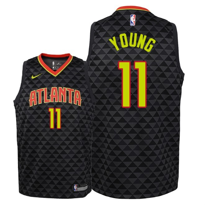 Camisetas NBA Niño Atlanta Hawks NO.11 Trae Young Negro Icon 2018-19 Barats