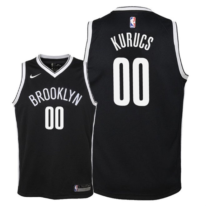 Camisetas NBA Niño Brooklyn Nets NO.0 Rodions Kurucs Negro Icon 2018 Barats