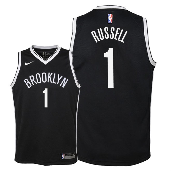 Camisetas NBA Niño Brooklyn Nets NO.1 D'Angelo Russell Negro Icon 2018 Barats