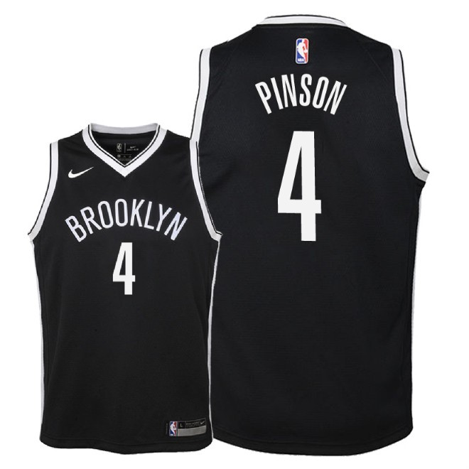 Camisetas NBA Niño Brooklyn Nets NO.4 Theo Pinson Negro Icon 2018 Barats