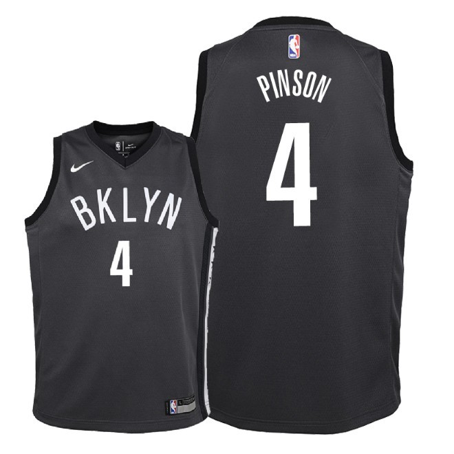Camisetas NBA Niño Brooklyn Nets NO.4 Theo Pinson Negro Statement 2018 Barats