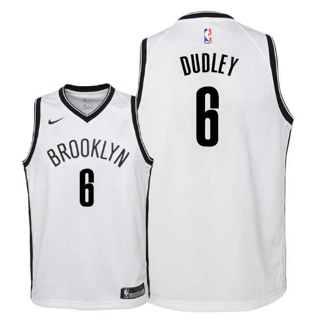 Camisetas NBA Niño Brooklyn Nets NO.6 Jared Dudley Blanco Association 2018 Barats