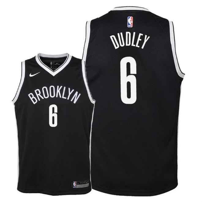 Camisetas NBA Niño Brooklyn Nets NO.6 Jared Dudley Negro Icon 2018 Barats