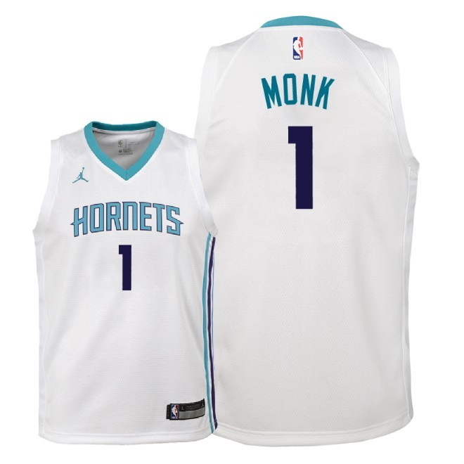Camisetas NBA Niño Charlotte Hornets NO.1 Malik Monk Blanco Association 2018 Barats