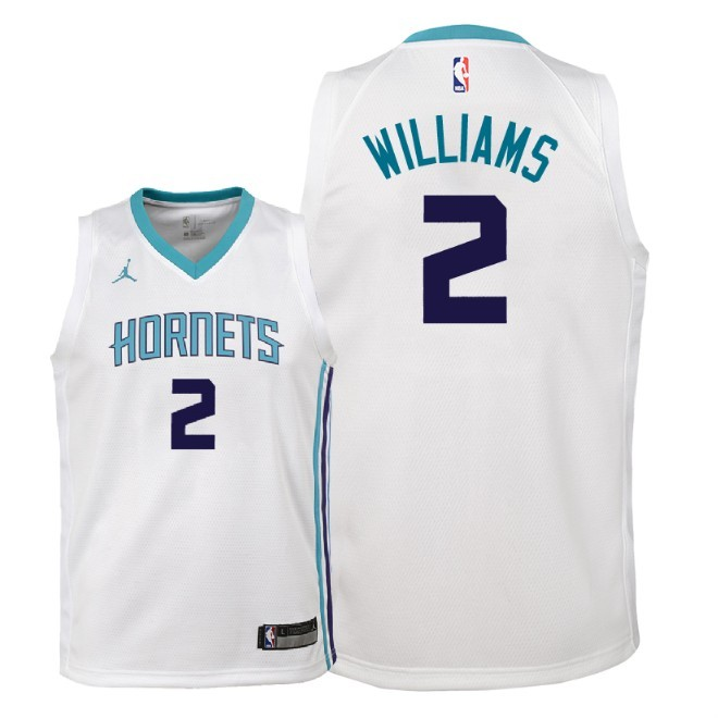 Camisetas NBA Niño Charlotte Hornets NO.2 Marvin Williams Blanco Association 2018 Barats