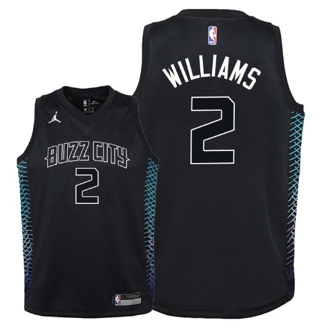 Camisetas NBA Niño Charlotte Hornets NO.2 Marvin Williams Nike Negro Ciudad 2018 Barats