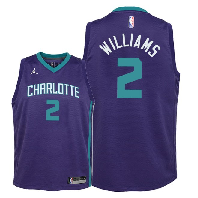 Camisetas NBA Niño Charlotte Hornets NO.2 Marvin Williams Púrpura Statement 2018 Barats
