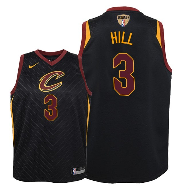 Camisetas NBA Niño Cleveland Cavaliers 2018 Finales Champions NO.3 George Hill Negro Statement Parche Barats