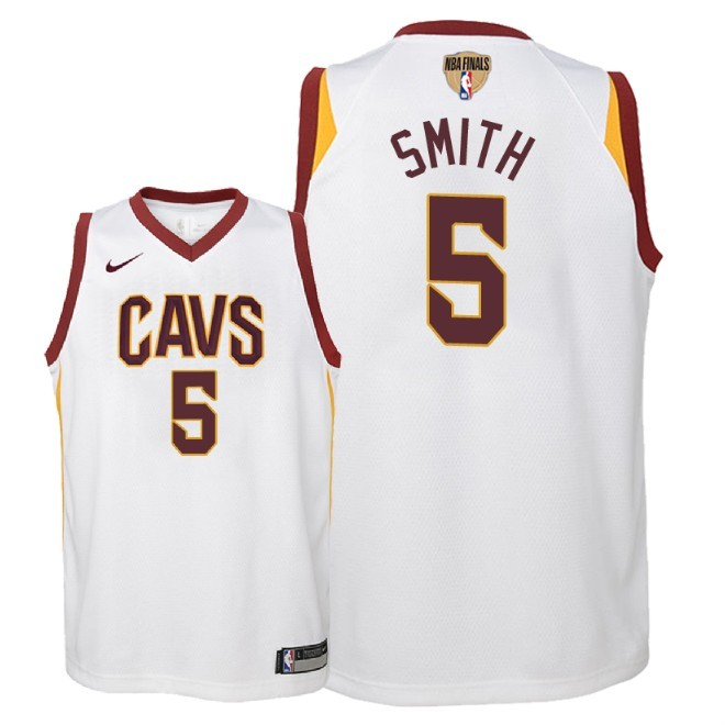 Camisetas NBA Niño Cleveland Cavaliers 2018 Finales Champions NO.5 JR. Smith Blanco Association Parche Barats