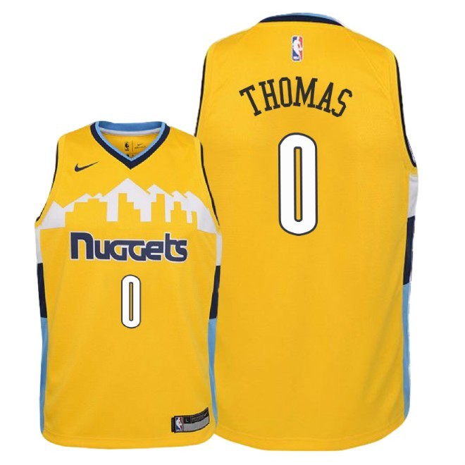 Camisetas NBA Niño Denver Nuggets NO.0 Isaiah Thomas Amarillo Statement 2018 Barats