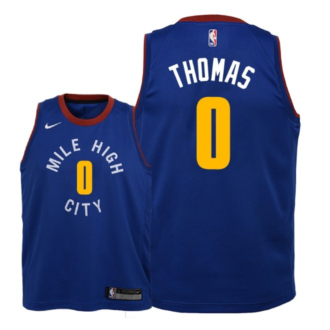 Camisetas NBA Niño Denver Nuggets NO.0 Isaiah Thomas Azul Statement 2018-19 Barats