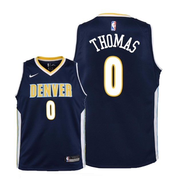 Camisetas NBA Niño Denver Nuggets NO.0 Isaiah Thomas Marino Icon 2018 Barats
