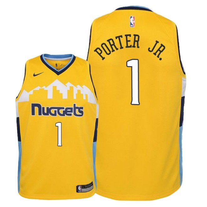 Camisetas NBA Niño Denver Nuggets NO.1 Michael Porter Jr Amarillo Statement 2018 Barats
