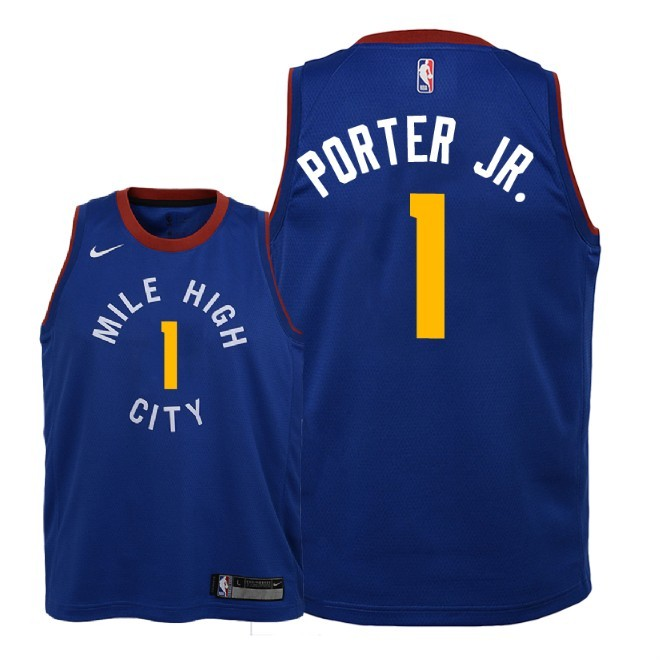 Camisetas NBA Niño Denver Nuggets NO.1 Michael Porter Jr Azul Statement 2018-19 Barats