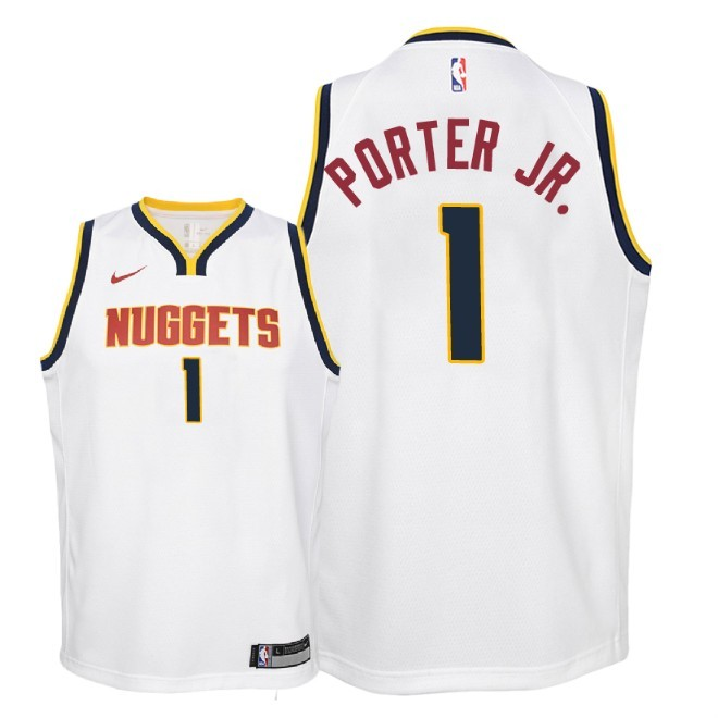 Camisetas NBA Niño Denver Nuggets NO.1 Michael Porter Jr Blanco Association 2018-19 Barats