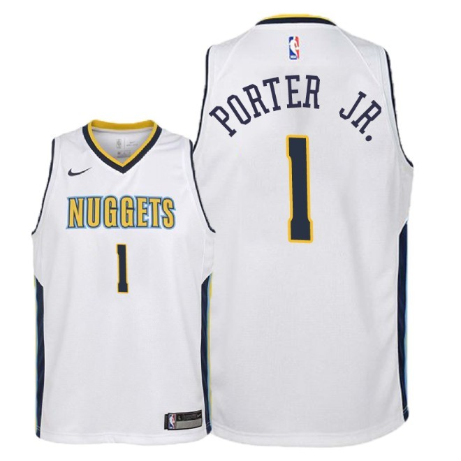 Camisetas NBA Niño Denver Nuggets NO.1 Michael Porter Jr Blanco Association 2018 Barats