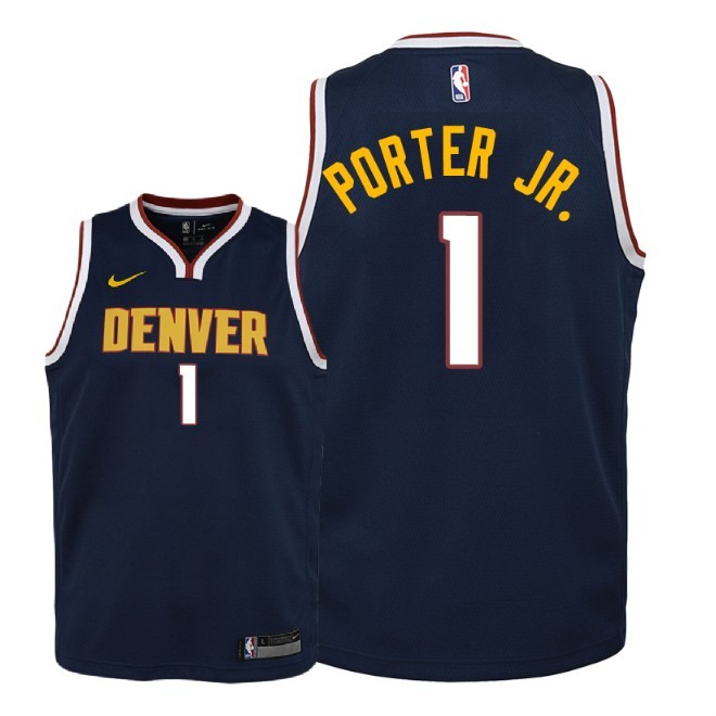 Camisetas NBA Niño Denver Nuggets NO.1 Michael Porter Jr Marino Icon 2018-19 Barats