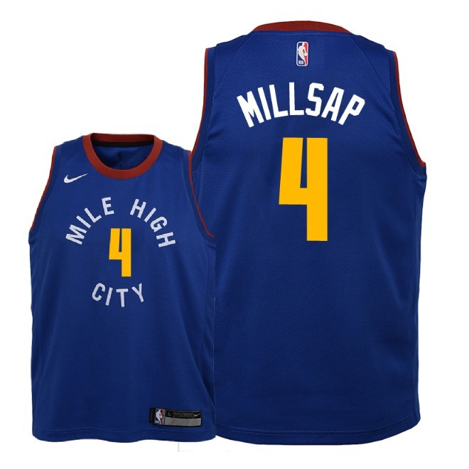 Camisetas NBA Niño Denver Nuggets NO.4 Paul Millsap Azul Statement 2018-19 Barats