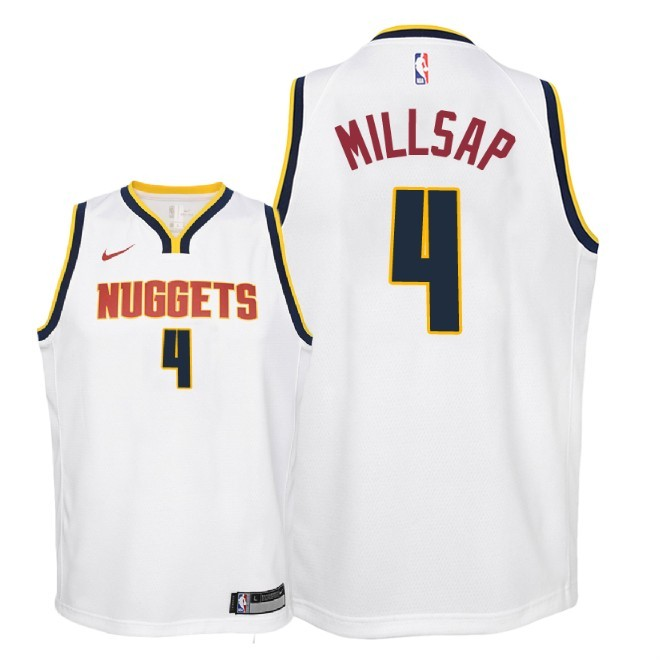 Camisetas NBA Niño Denver Nuggets NO.4 Paul Millsap Blanco Association 2018-19 Barats